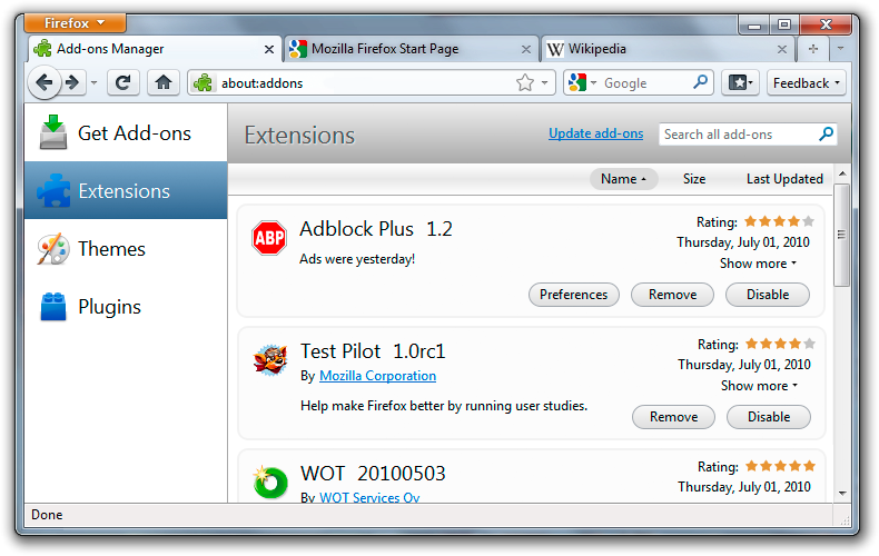 Add-ons Manager in Firefox 4 beta