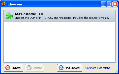 Extension Manager in Firefox 1.5