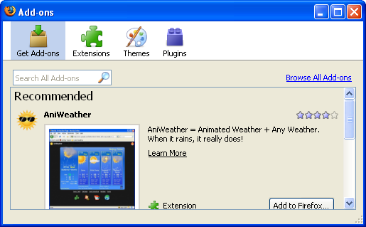 Add-ons Manager in Firefox 3.0