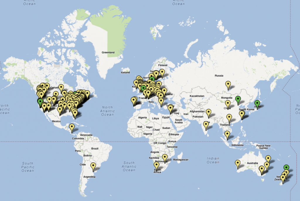 A map showing where Mozilla staff are in the world
