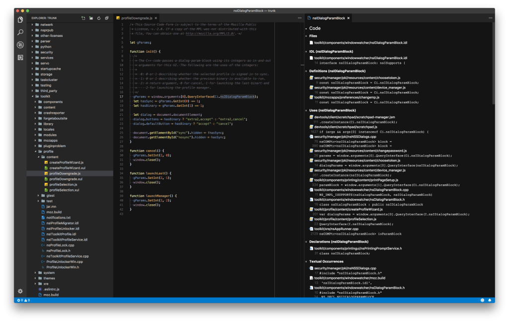 A screenshot of Searchfox displayed in VS Code